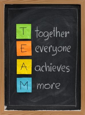 teamwork concept on blackboard