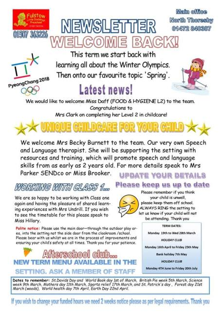 FULSTOW NEWSLETTER FEB 2018